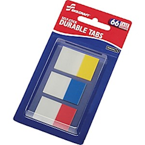 SKILCRAFT Self-stick Durable Tabs - 1.50in Tab Height x 1in Tab Width - Self-adhesive - Pack Of 12 MAIN