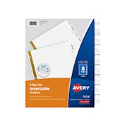 Avery Big Tab Insertable Dividers, Gold Reinforced, White/Clear, 8-Tab - Set Of 8 THUMBNAIL