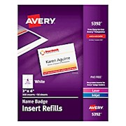 Avery Laser Name Badge Inserts, 3in x 4in - Box Of 300 THUMBNAIL