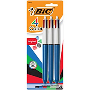 BIC 4-Color Retractable Ballpoint Pen, Medium Point, 1.0 mm, Blue Barrel, Assorted - Pack Of 3 MAIN