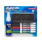 EXPO2 Low-Odor Dry-Erase Starter Kit, Fine-Point, 5 Markers, Black (2), Red, Blue - 1 Each THUMBNAIL