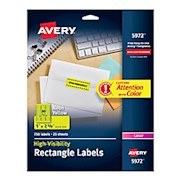 Avery High-Visibility Permanent Laser ID Labels, 5972, 1in x 2 5/8in, Yellow, Pack - Pack Of 750 THUMBNAIL