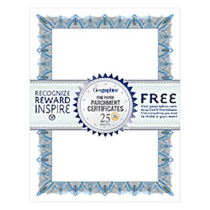 Geographics 30% Recycled Blank Parchment Certificates, 8 1/2in x 11in, Unique Blue - Pack Of 25 MAIN