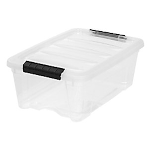IRIS Latch Plastic Storage Bin, 12.95 Qt, 16 1/2in x 11in x 6 1/2in, Clear - 1 Each MAIN