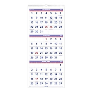 AT-A-GLANCE 3-Month Reference 14-Month Wall Calendar, 12in x 27in, December 2019 - 1 Each MAIN