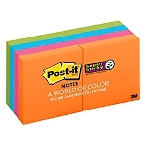 Post-it Super Sticky Notes, 1-7/8in x 1-7/8in, Rio de Janeiro - Pack Of 8 Pads MAIN