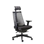 Boss Contemporary Mesh High-Back Chair, With Headrest, Poly/Fabric, Black - 1 Each THUMBNAIL