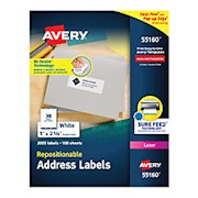 Avery Repositionable Address Labels, 55160, 1in x 2 5/8in, White, Pack Of 3,000 - Box Of 3000 THUMBNAIL