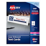 Avery Inkjet/Laser Tent Cards, Embossed, 3 1/2in x 11in, FSC Certified, White, Box - Box Of 50 THUMBNAIL