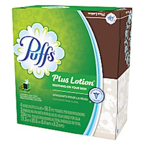 Puffs Plus Lotion 2-Ply Facial Tissues, White, 56 Sheets Per Box, Pack of 4 Boxes - 1 Each MAIN