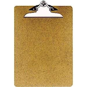 OIC 100% Recycled Hardboard Clipboard, Letter Size, 9in x 12 1/2in, Brown - 1 Each MAIN