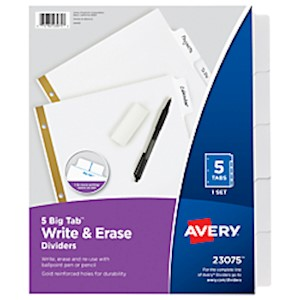 Avery Big Tab Write-On 20% Recycled Tab Dividers With Erasable Laminated Tabs, 5-Tab - Set Of 5 MAIN