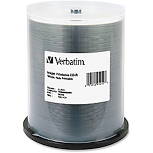 Verbatim CD-R Printable Disc Spindle, White - Pack Of 100 MAIN