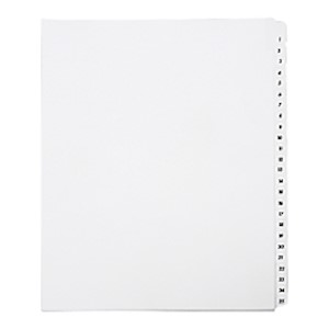 SKILCRAFT Index Divider Sheets With Numerical Tabs, 1-25, Letter Size, Clear/White - Set Of 1 MAIN