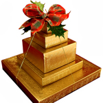 Chocolate Lovers Tower of Gold w Bow THUMBNAIL