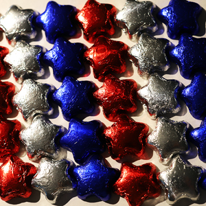 Milk Chocolate Red, Blue & Silver Stars (12oz) MAIN