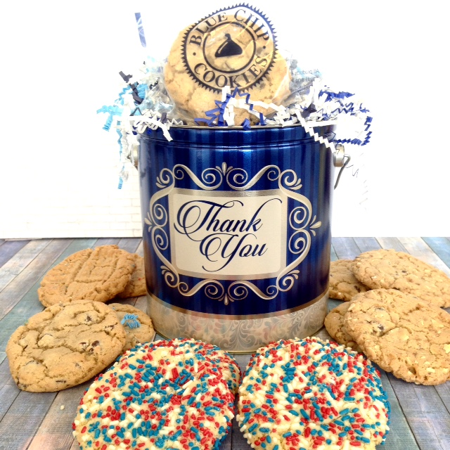Corporate cookie gift tins.