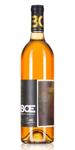 Bottle of orange wine made with New York grapes. THUMBNAIL