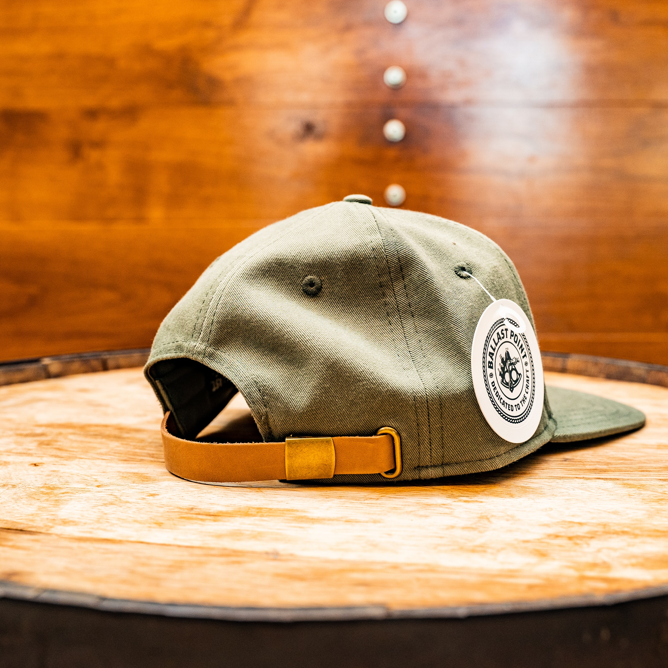 Olive Green Flat Brim w/Leather Patch SWATCH