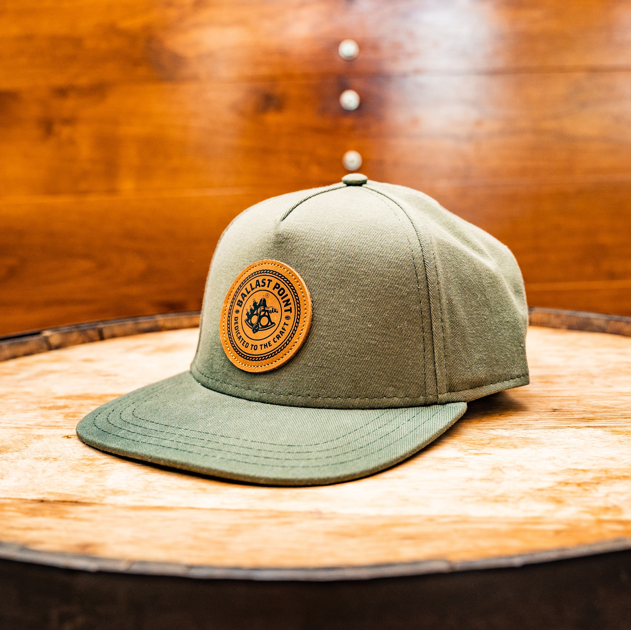 Olive Green Flat Brim w/Leather Patch THUMBNAIL