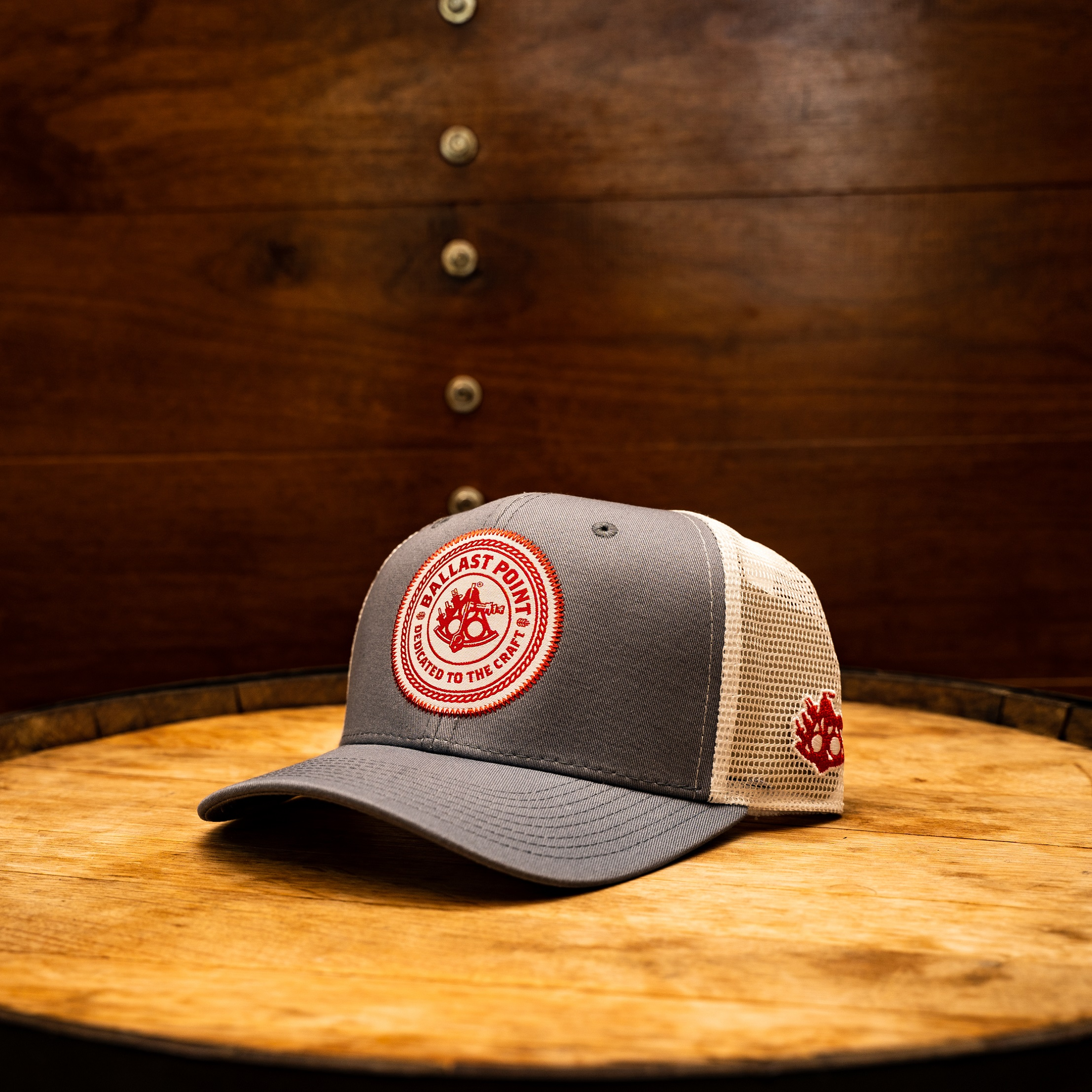 Grey Trucker With Red Patch LARGE