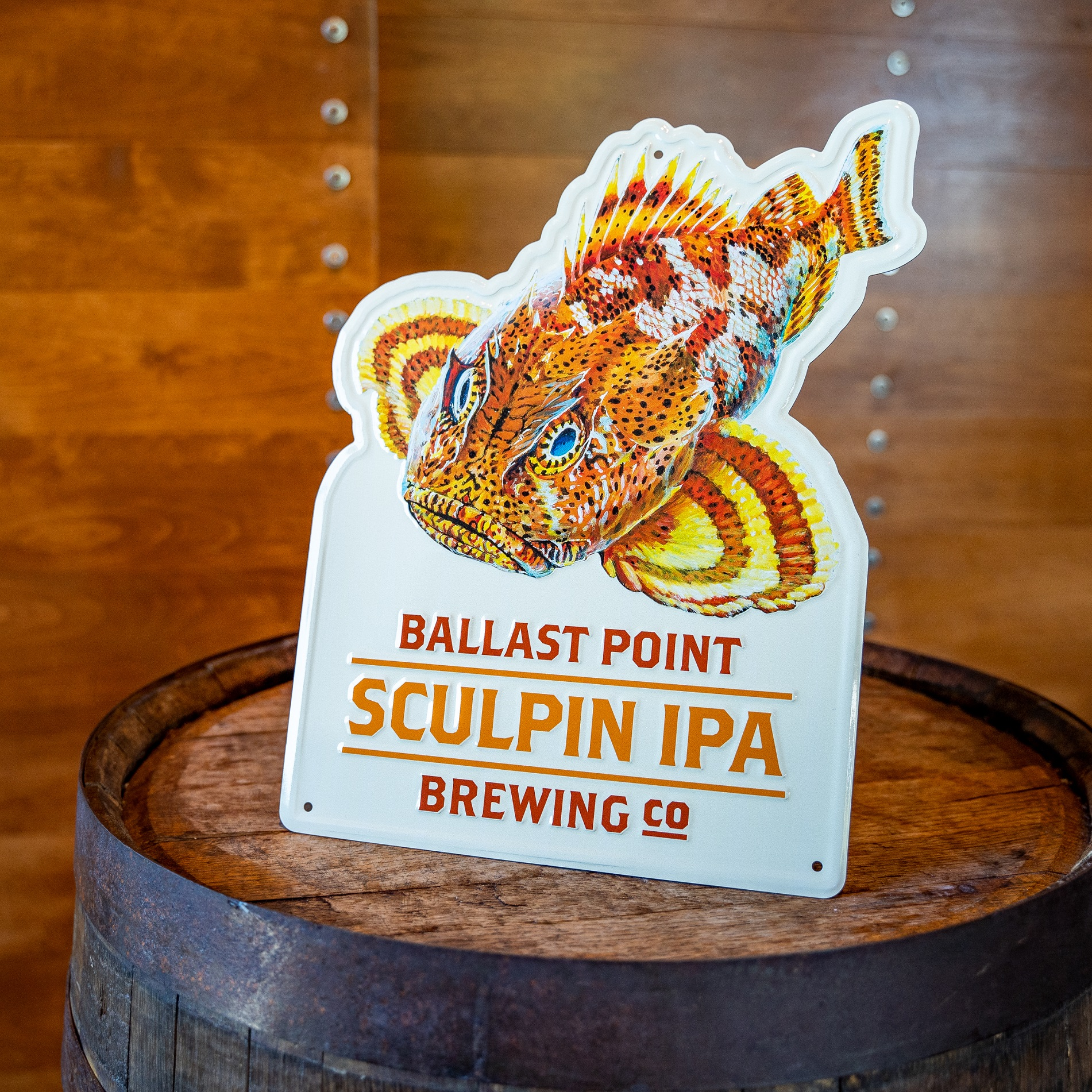 Sculpin Fish and Text Tin Sign THUMBNAIL