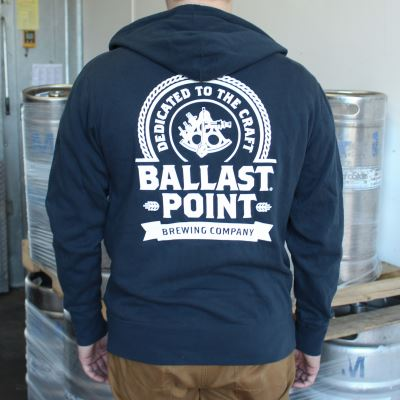 Ballast Point Unisex Badge Zip Up Hoodie LARGE