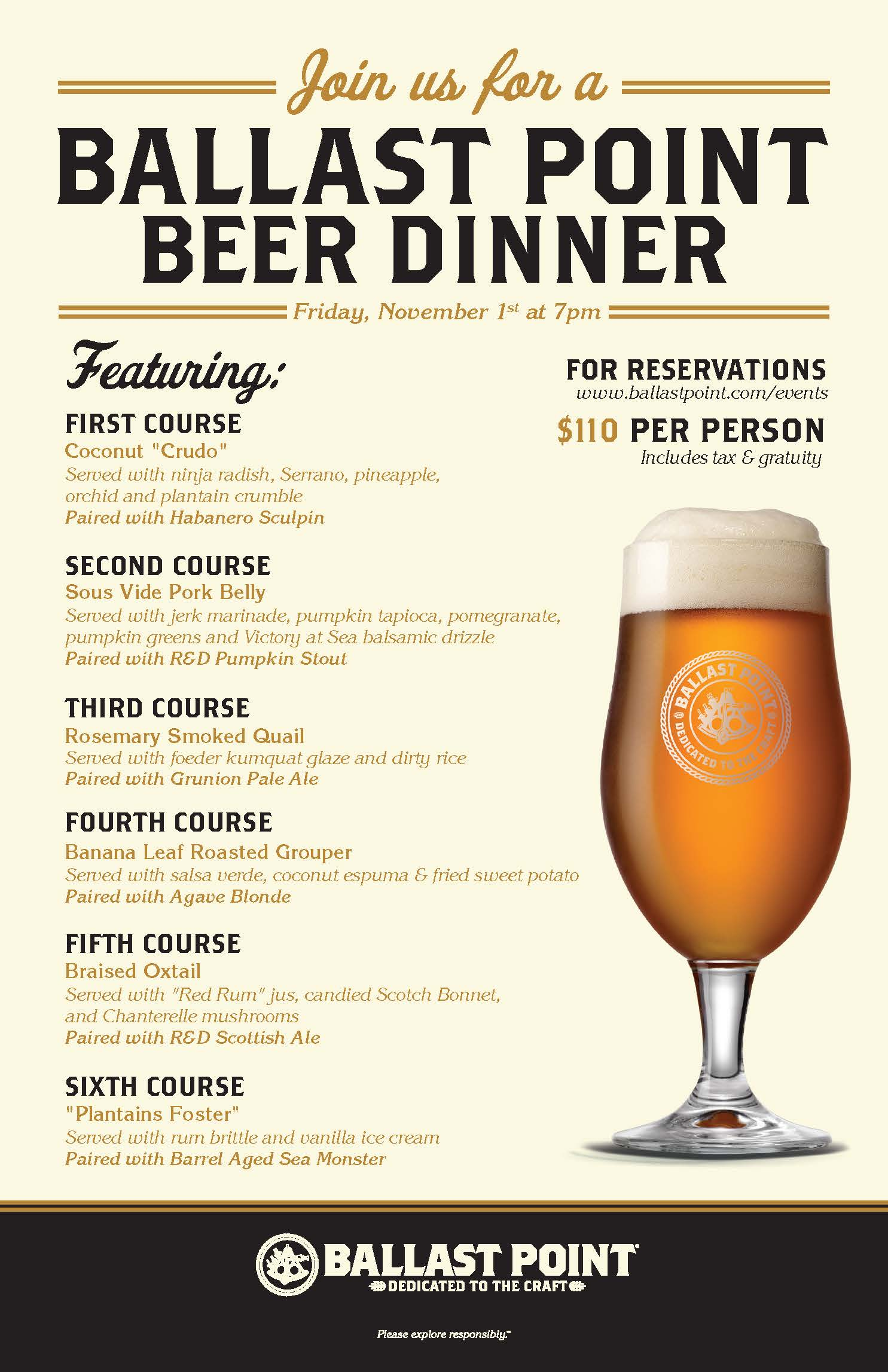 Ballast Point Beer Dinner - Downtown Disney LARGE