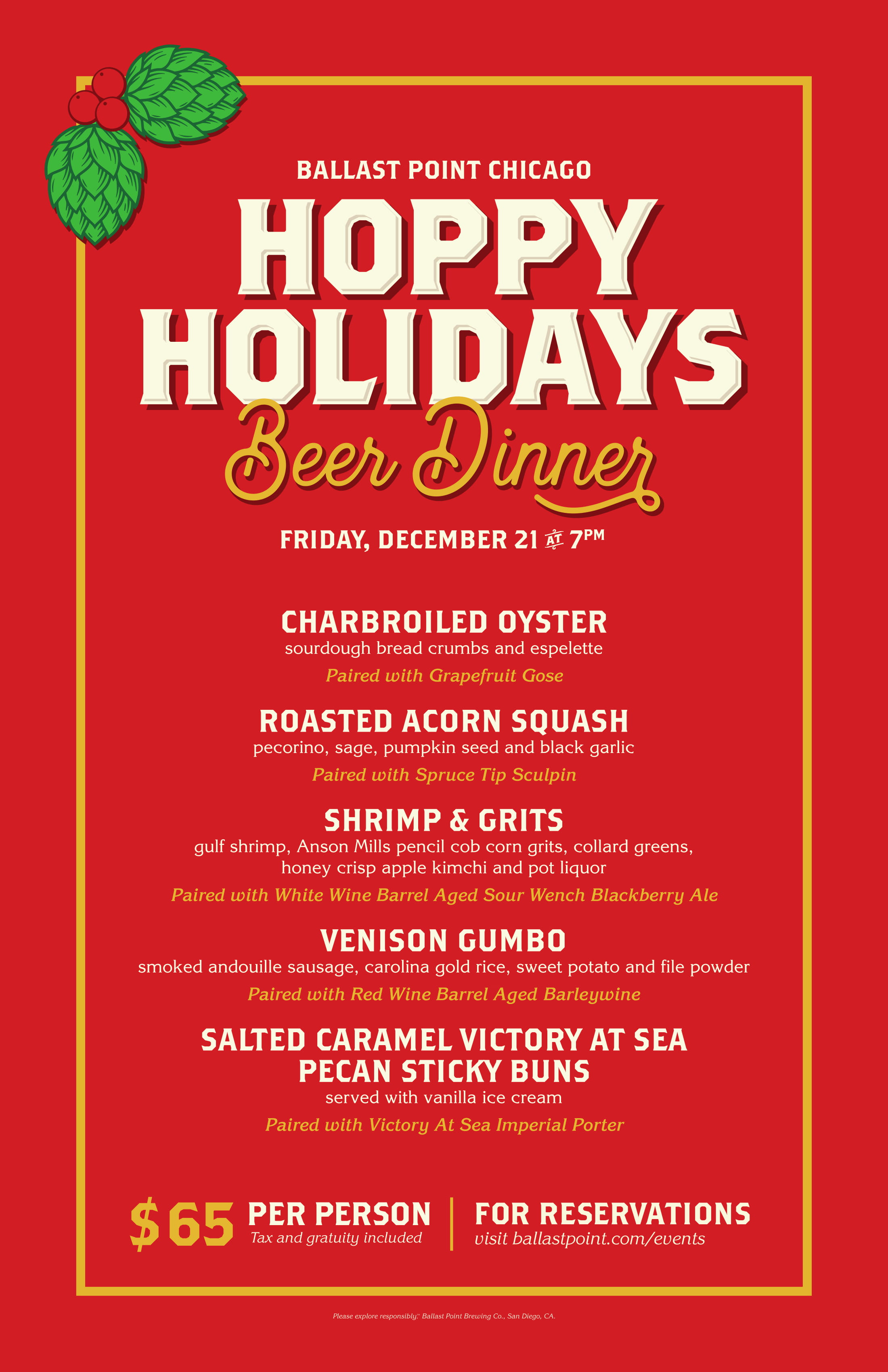 Ballast Point Chicago - Hoppy Holidays Beer Dinner