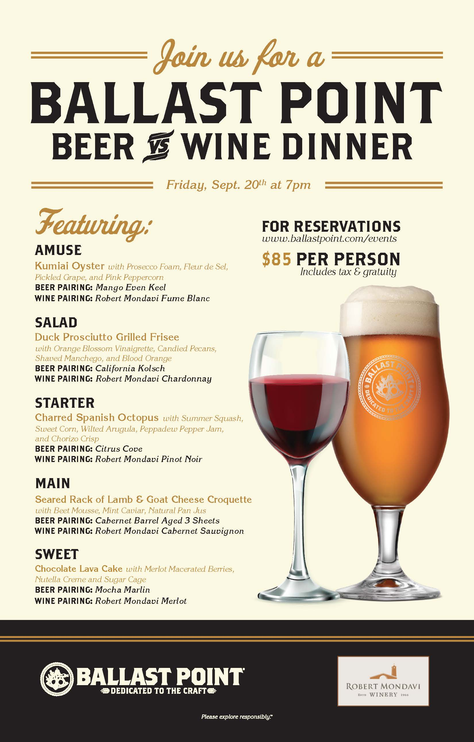Ballast Point Beer vs Wine Dinner - Miramar THUMBNAIL