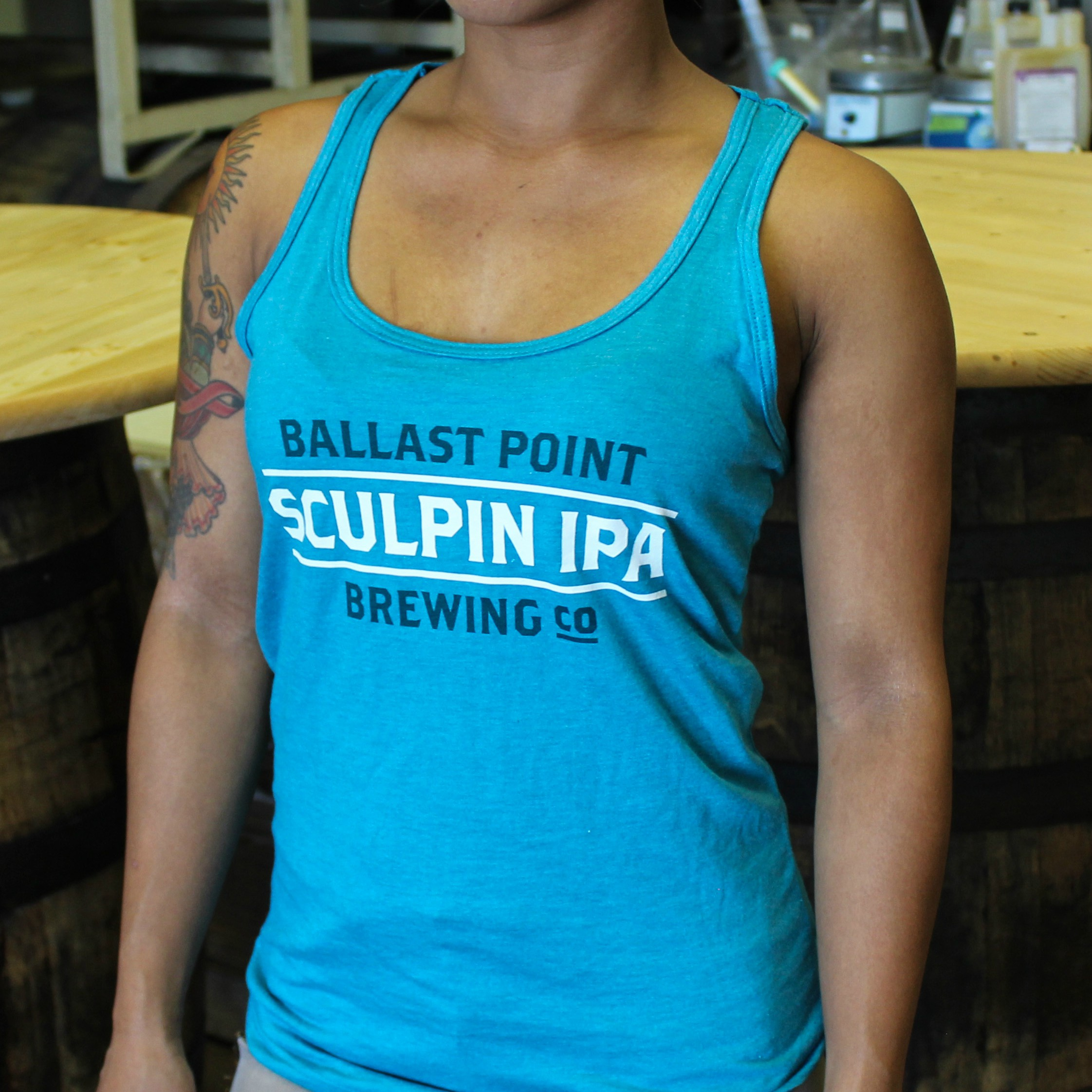 Women's Sculpin Text Racerback Tank LARGE