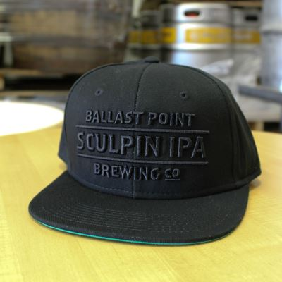 Sculpin Black Text Snapback