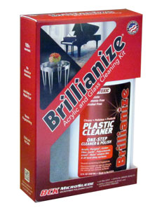 Brillianize Plastic and Glass Cleaning Kit with Microsuede Polishing Cloth LARGE