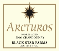 2016 Arcturos Barrel Aged Chardonay white wine label