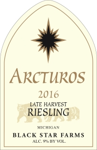 2016 Arcturos Late Harvest Riesling white wine label