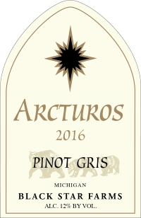 2016 Arcturos Pinot Gris white wine label