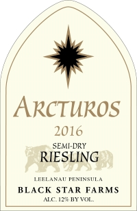 2016 Arcturos Riesling white wine label