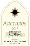 2017 Arcturos Late Harvest Riesling white wine label