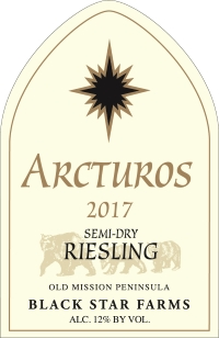 2017 Arcturos Riesling white wine label