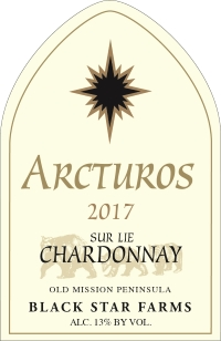 2017 Arcturos Sur Lie Chardonnay white wine label LARGE