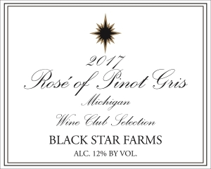 2017 Wine Club Selection rose of Pinot Girs wine label LARGE