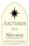 2014 Arcturos Pinot Gris white wine label