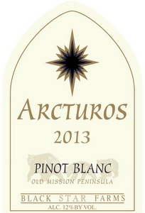 2013 Arcturos Pinot Blanc white wine label