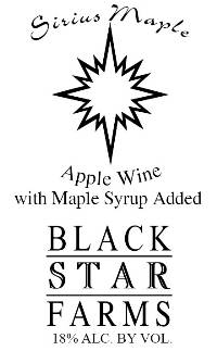 Sirius Maple dessert wine label