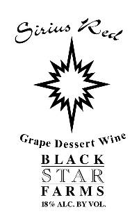 Sirius Red dessert wine label