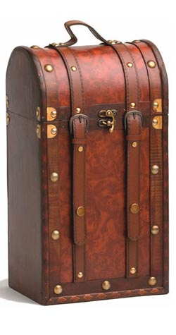 Treasure Island 2 bottle Antique Wine Case MAIN