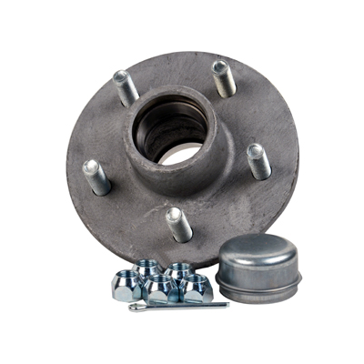 "Galvanized Trailer Hub Kit Tapered Spindle, 5x4.5"" Stud 1750 Lb Capacity"