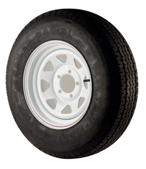 "St205/75r14 Radial Tire With 14"" White Wheel"