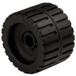 "Small Ribbed Roller Black Natural Rubber, 3/4"" Shaft"