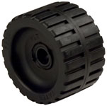 "Ribbed Roller Black Natural Rubber, 3/4"" Shaft"